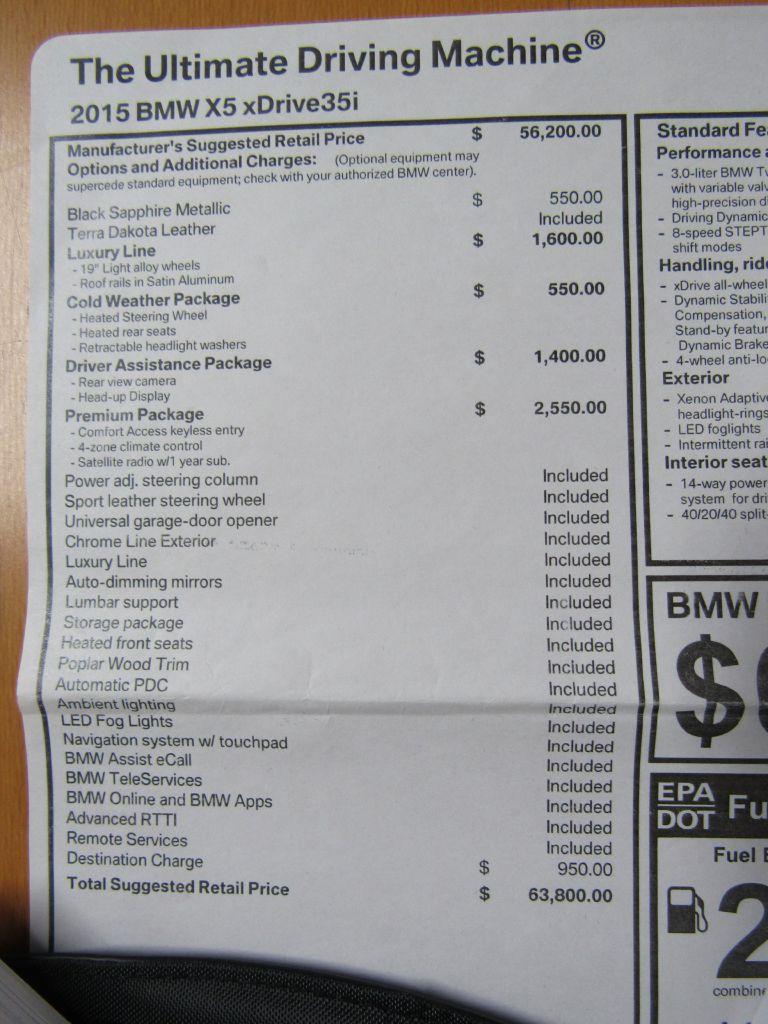 2015 BMW X5 35I XDRIVE Only 12k Miles!! LUX/NAV/HUD!!